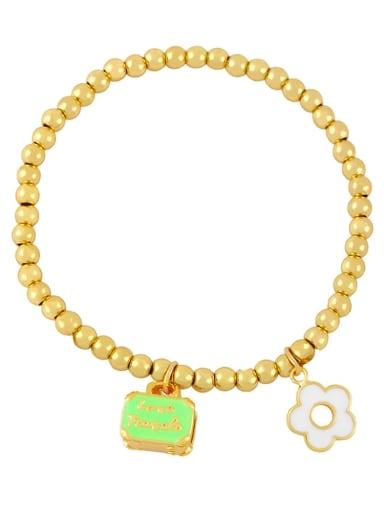 green Brass Enamel Flower Trend Beaded Bracelet