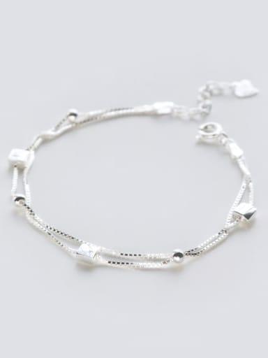 925 Sterling Silver Bead Square Minimalist Strand Bracelet