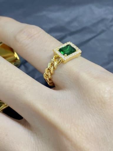 Copper Glass stone Rectangle Minimalist chain Midi Ring