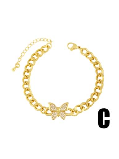 C Brass Cubic Zirconia Butterfly Vintage Hollow Chain  Bracelet