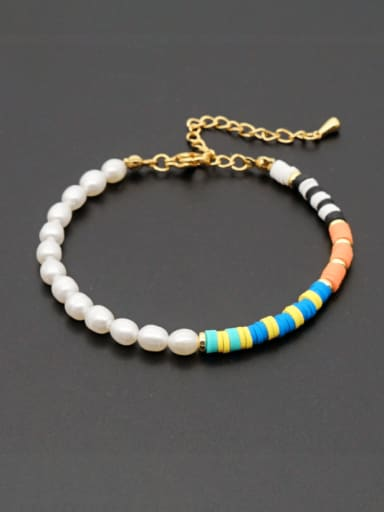 ZZ B200190A Stainless steel Freshwater Pearl Multi Color Polymer Clay Round Bohemia Bracelet
