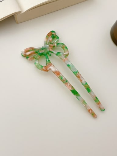 Broken flower green 11.8cm Cellulose Acetate Trend Bowknot Hair Comb