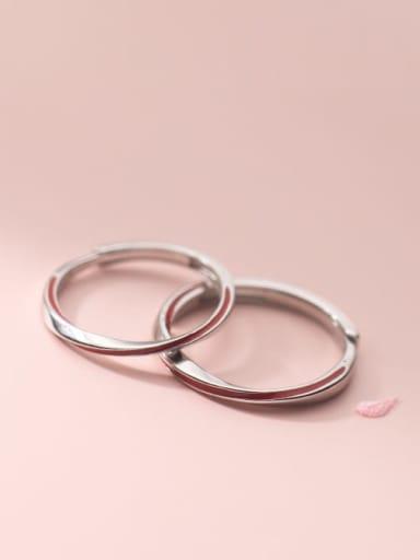 925 Sterling Silver Enamel Line Minimalist Couple Ring