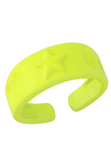yellow Brass Enamel Star Hip Hop Band Ring