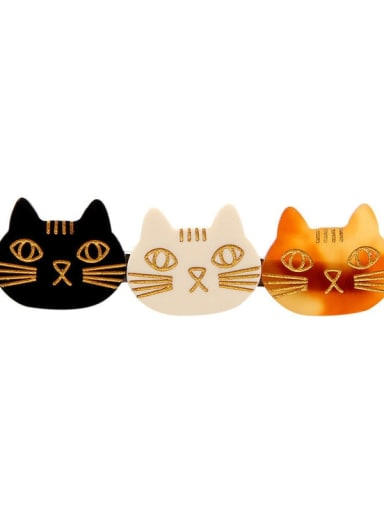 Black Beige Brown Cellulose Acetate Cute Cat Hair Barrette