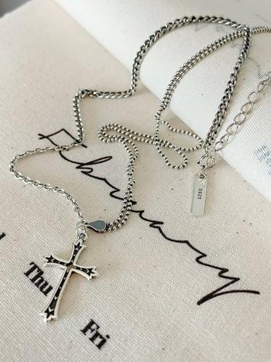 925 Sterling Silver Cross Vintage Long Strand Necklace