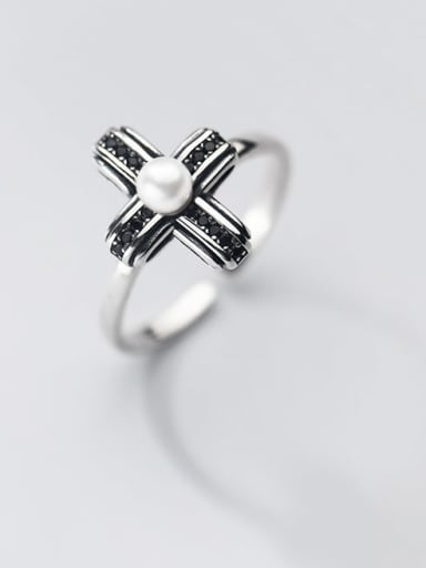 925 Sterling Silver Imitation Pearl Cross Vintage Band Ring