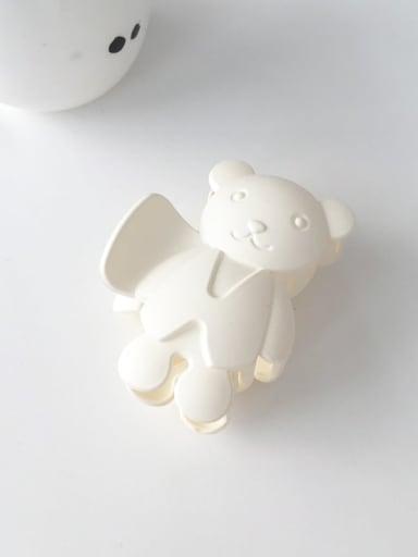White 8.5cm Alloy Acrylic Cute Bear  Jaw Hair Claw