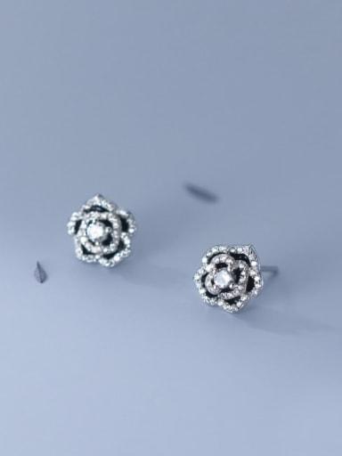 925 Sterling Silver Cubic Zirconia Enamel Flower Minimalist Stud Earring