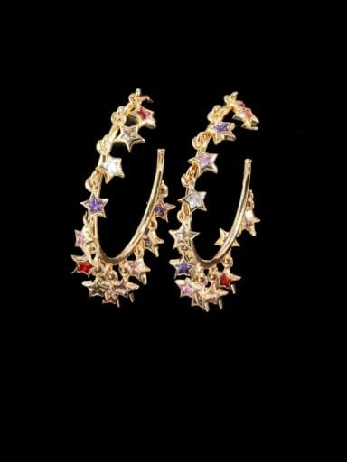 Brass Cubic Zirconia Geometric Luxury Huggie Earring