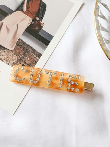 Orange yellow Cellulose Acetate  Rhinestone  Leopard zircon letter folder Hair Barrette