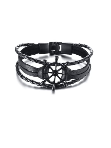 black  three Stainless Steel With White Gold Plated Simplistic Hollow Rudder  Bracelets