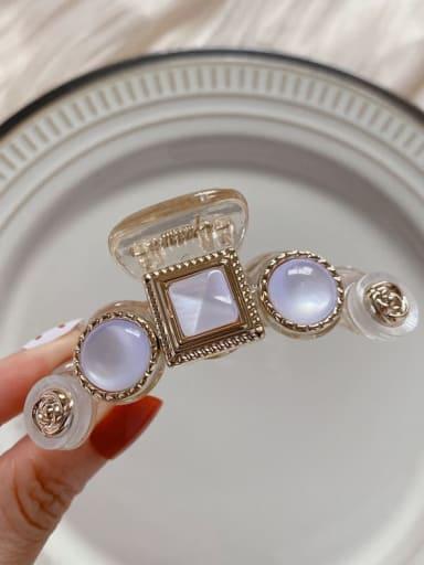 Transparent rose 7.3cm Alloy Imitation Pearl Minimalist Geometric  Jaw Hair Claw