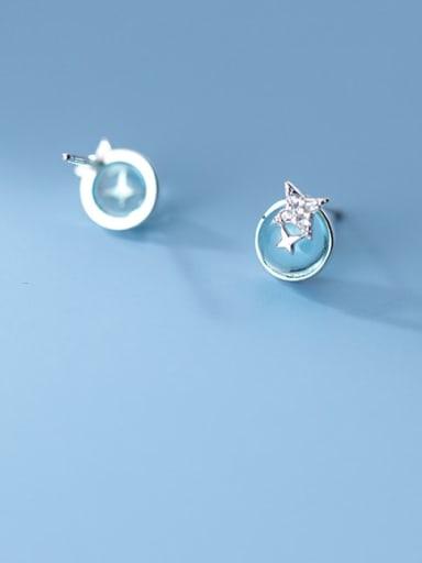 925 Sterling Silver Cats Eye Irregular Minimalist Stud Earring