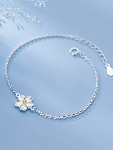 925 Sterling Silver Flower Minimalist Link Bracelet