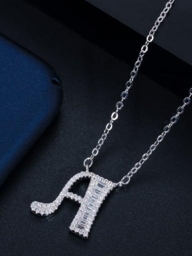 Letter a (with chain) Copper Cubic Zirconia Message Minimalist letter pendant Necklace