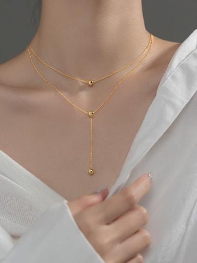 925 Sterling Silver Bead Tassel Minimalist Lariat Necklace