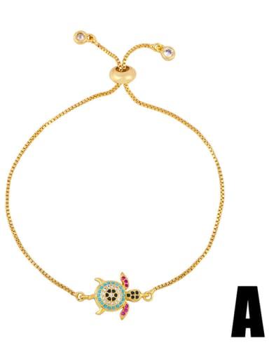 brb94 A Brass Cubic Zirconia Turtle Cute Link Bracelet