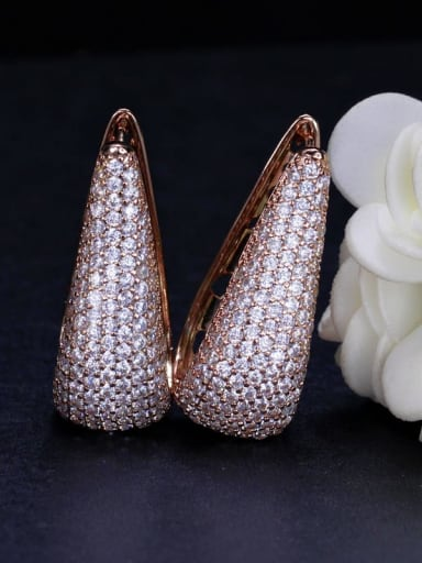 rose gold Brass Cubic Zirconia Geometric Luxury Stud Earring