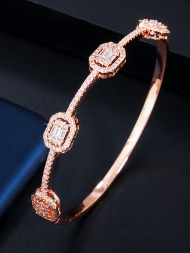 rose gold Copper Cubic Zirconia Geometric Luxury Band Bangle