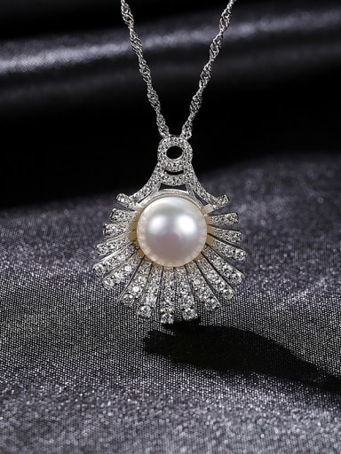 W 7F05 925 Sterling Silver Freshwater Pearl Irregular Luxury Necklace