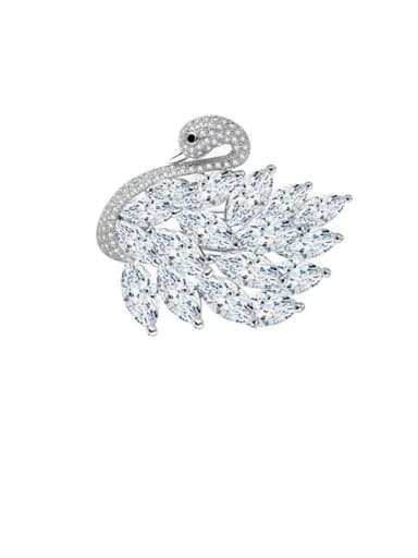 Copper Cubic Zirconia Swan Luxury Brooch