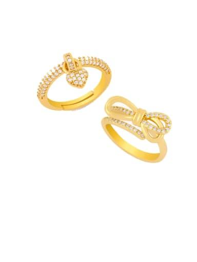 Copper Cubic Zirconia Heart Dainty Midi Ring