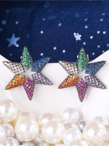 E0934 Brass Cubic Zirconia Star Dainty Cluster Earring
