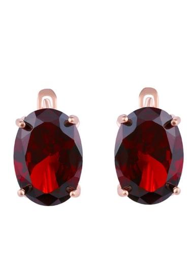 gules Alloy Glass Stone Rosary Bohemia Stud Earring