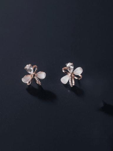 rose gold 925 Sterling Silver Cats Eye Flower Minimalist Stud Earring