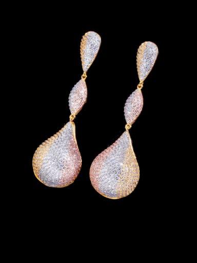 Brass Cubic Zirconia Water Drop Statement  Three-color full diamond irregular long  Earring