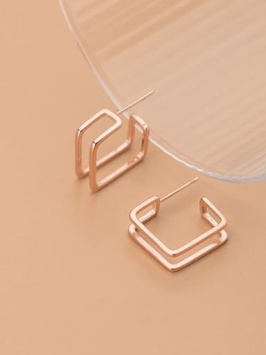 925 Sterling Silver Simple lines geometric square double layer Stud Earring