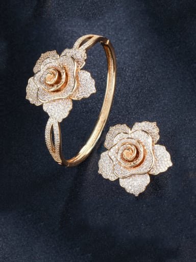 Brass Cubic Zirconia Luxury Flower  Ring and Bangle Set