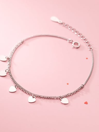 925 Sterling Silver Heart Minimalist Strand Bracelet