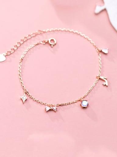 925 Sterling Silver Trend  Diamond bow bow high heels Link Bracelet