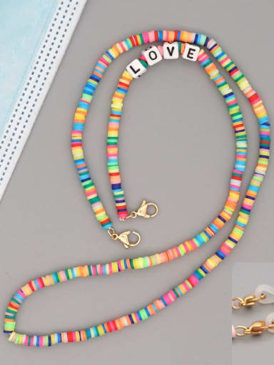 RT N200006C Stainless steel Bead Multi Color Polymer Clay Letter Bohemia Hand-woven Necklace
