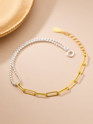 925 Sterling Silver Asymmetric Smooth Bead Geometric Minimalist  Bracelet
