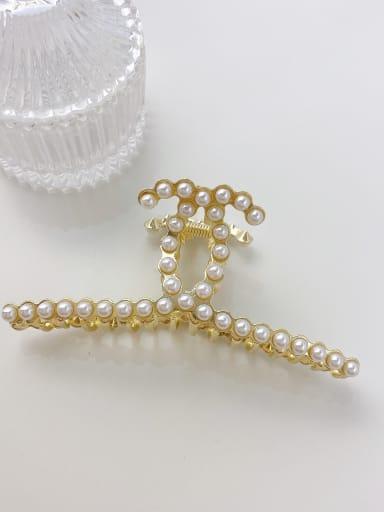 Pearl 11.2cm Alloy Imitation Pearl Minimalist Geometric  Jaw Hair Claw
