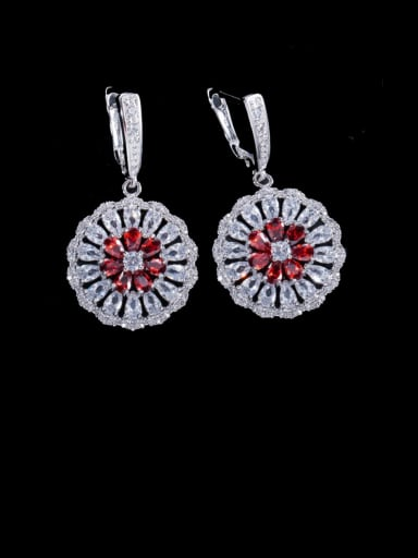 red Brass Cubic Zirconia Geometric Luxury Cluster Earring