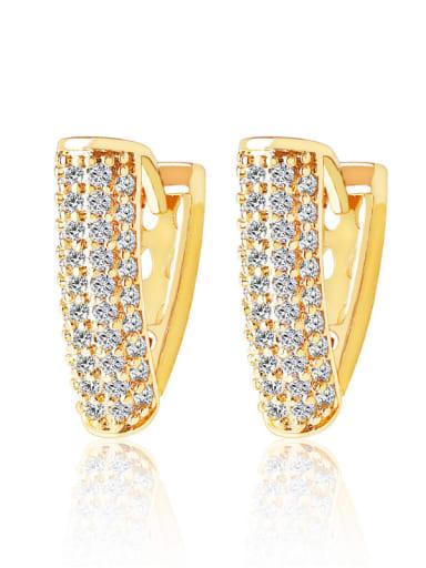Brass Rhinestone Geometric Luxury Huggie Earring