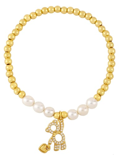 Brass Imitation Pearl Smiley Vintage Beaded Bracelet