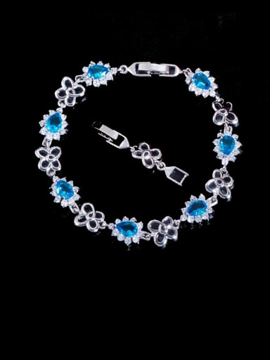 Sea blue Brass Cubic Zirconia Flower Luxury Bracelet