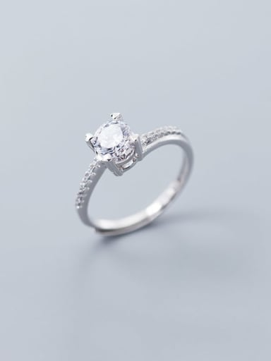 925 Sterling Silver Square Cubic Zirconia  Minimalist Band Ring