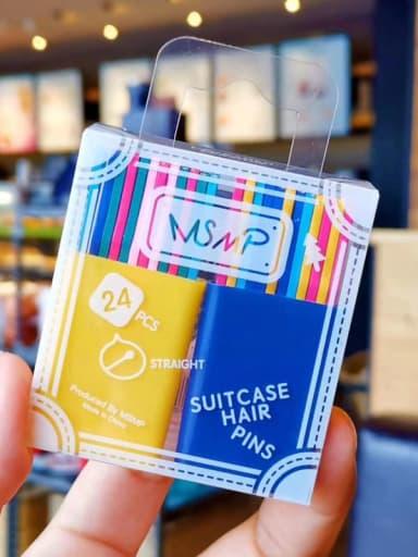 Egg yolk Navy Alloy Enamel Minimalist Wavy One word clip candy color Hair Pin
