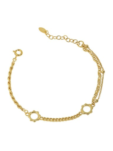 18K Gold 925 Sterling Silver Geometric Vintage Link Bracelet