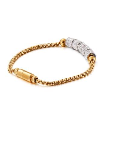 gold Stainless Steel Rhinestone White Round Vintage Link Bracelet