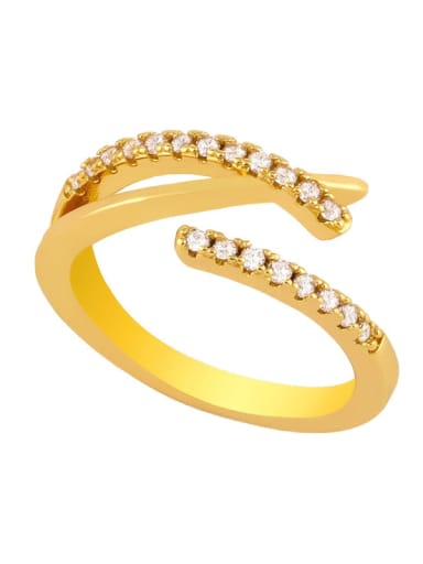 B Brass Cubic Zirconia Heart Vintage Midi Ring