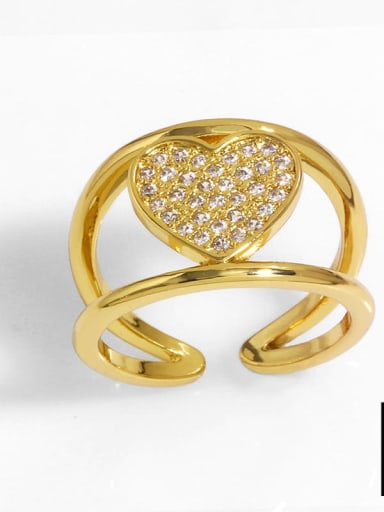 B Brass Cubic Zirconia Heart Vintage Band Ring