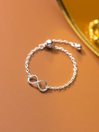 925 Sterling Silver Number 8 Minimalist  Chain Band Ring