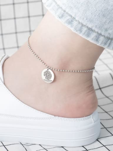 925 Sterling Silver Geometric Vintage Bead Anklet